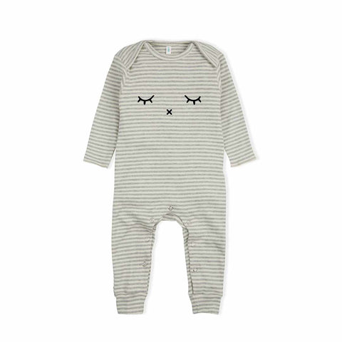 Organic Zoo Sleepy Playsuit - Grey Stripes-Rompers- Natural Baby Shower