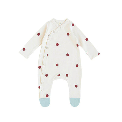 Organic Zoo Suit with Feet - Dots-Bodysuits- Natural Baby Shower