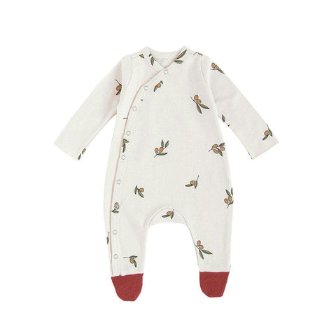 Organic Zoo Suit with Feet - Olive Tree-Rompers- Natural Baby Shower