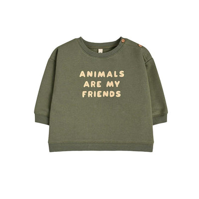Organic Zoo Sweatshirt - Animals Are My Friends-Jumpers- Natural Baby Shower