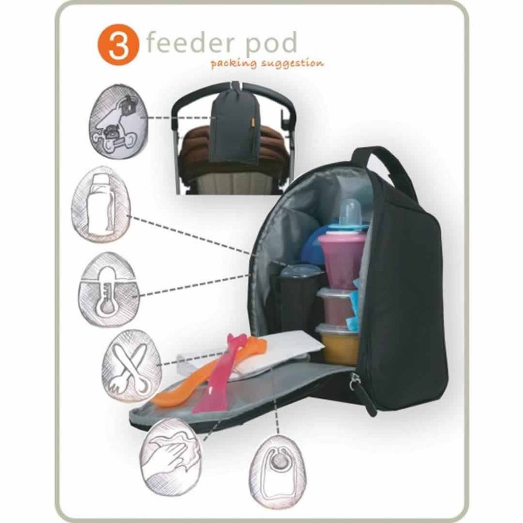 Pacapod Changing Bag Lewis Black Tile Feeder Pod