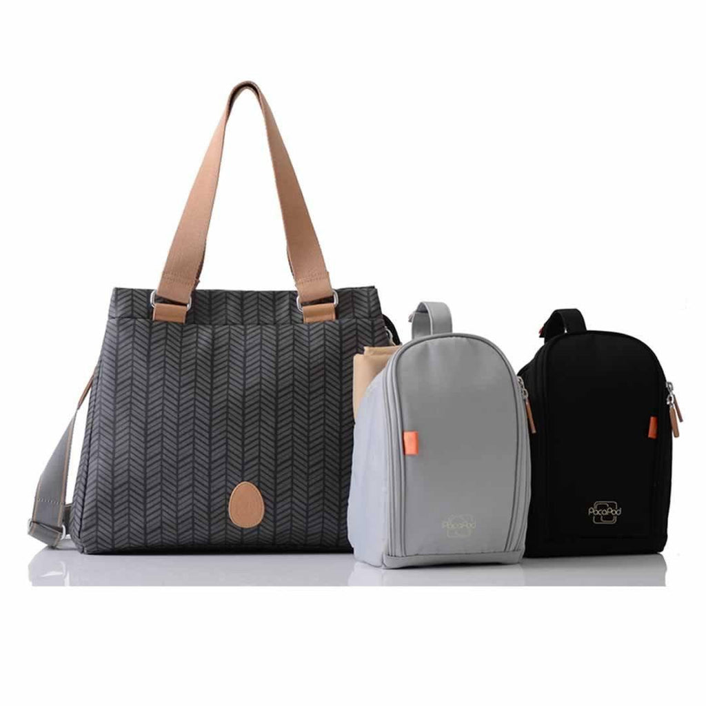 PacaPod Changing Bag Richmond Charcoal Herringbone