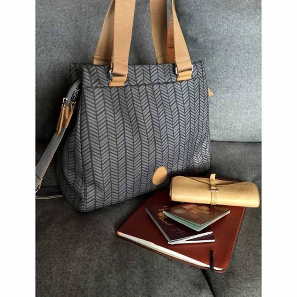 PacaPod Changing Bag - Richmond - Charcoal Herringbone-Changing Bags- Natural Baby Shower
