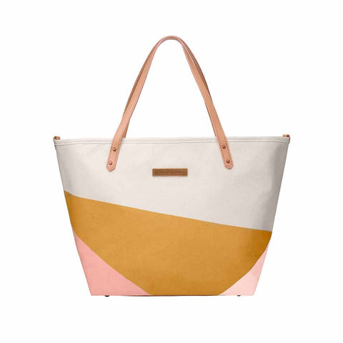 Petunia Pickle Bottom Changing Bag - Downtown Tote - Birch/Macaroon