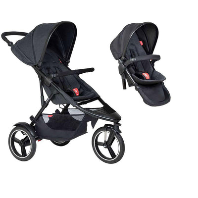 Phil & Teds Dash Pushchair + Double Kit-Strollers-Black-No Lazy Ted- Natural Baby Shower