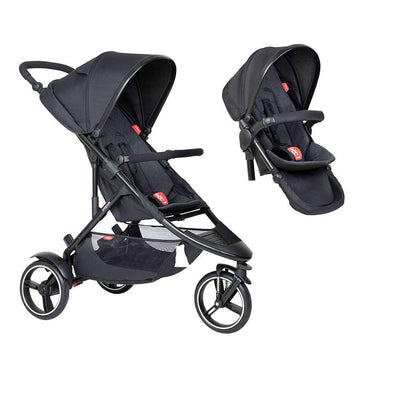 Phil & Teds Dot Pushchair + Double Kit-Strollers-Black-No Lazy Ted- Natural Baby Shower