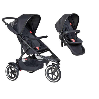 Phil & Teds Sport Pushchair + Double Kit-Strollers-Black-No Lazy Ted- Natural Baby Shower