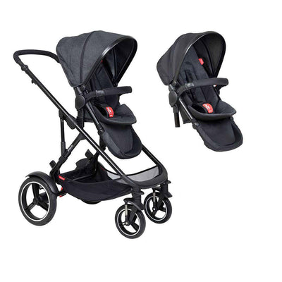Phil & Teds Voyager Pushchair + Double Kit-Strollers-Black-No Lazy Ted- Natural Baby Shower