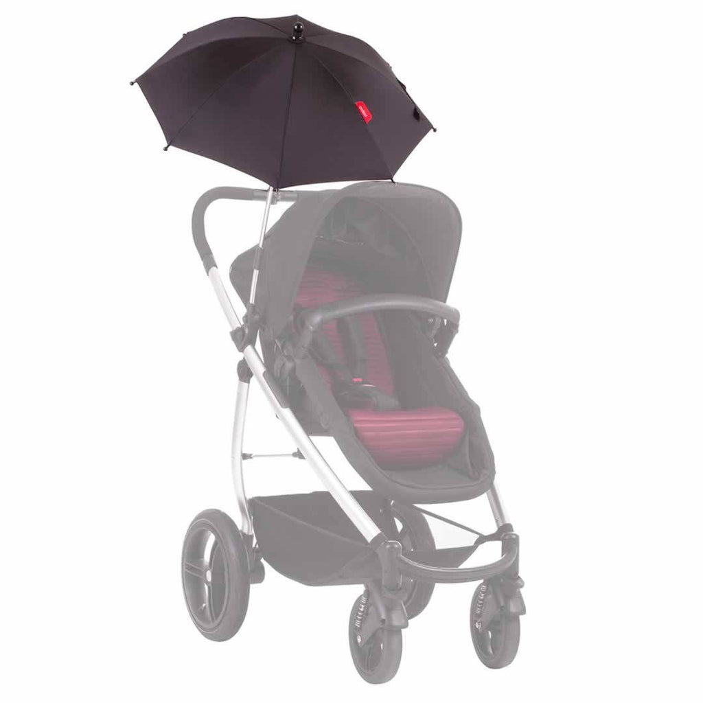 Phil & Teds Shade Stick Umbrella - Black on Pushchair