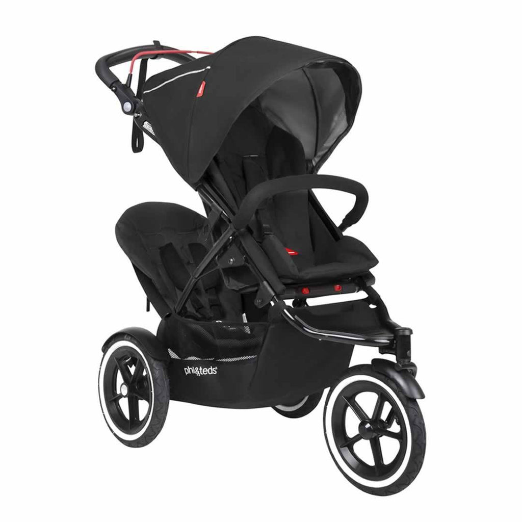 Phil & Teds Sport Pushchair + Double Kit - Black-Strollers- Natural Baby Shower