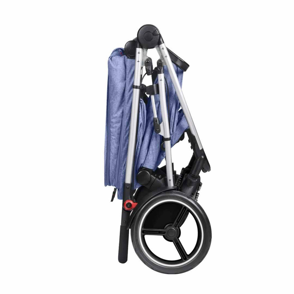 Phil & Teds Voyager Pushchair - Blue Marl Folded