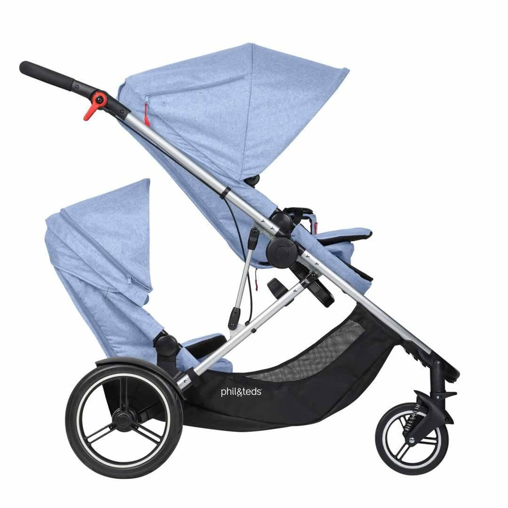 Phil & Teds Voyager Pushchair + Double Kit - Blue Marl Front Facing