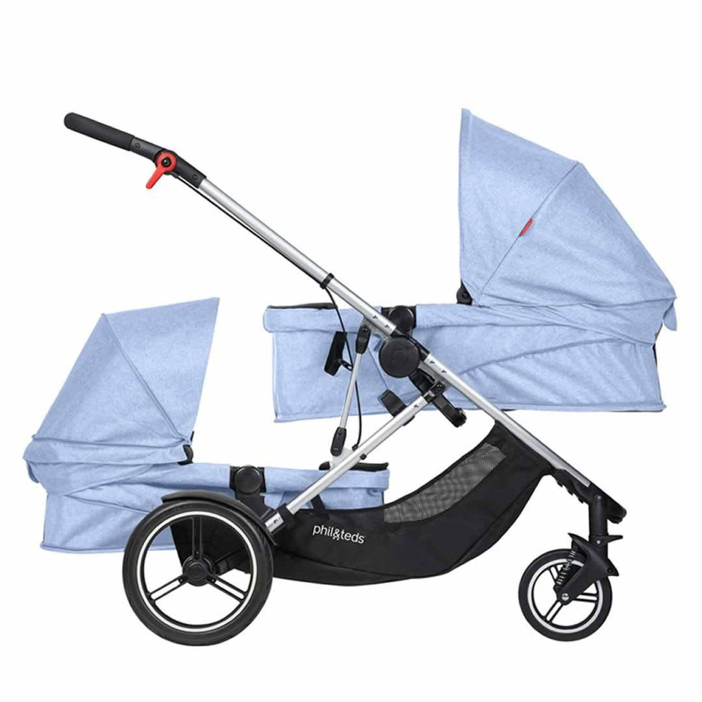 Phil & Teds Voyager Pushchair + Double Kit - Blue Marl Carrycots