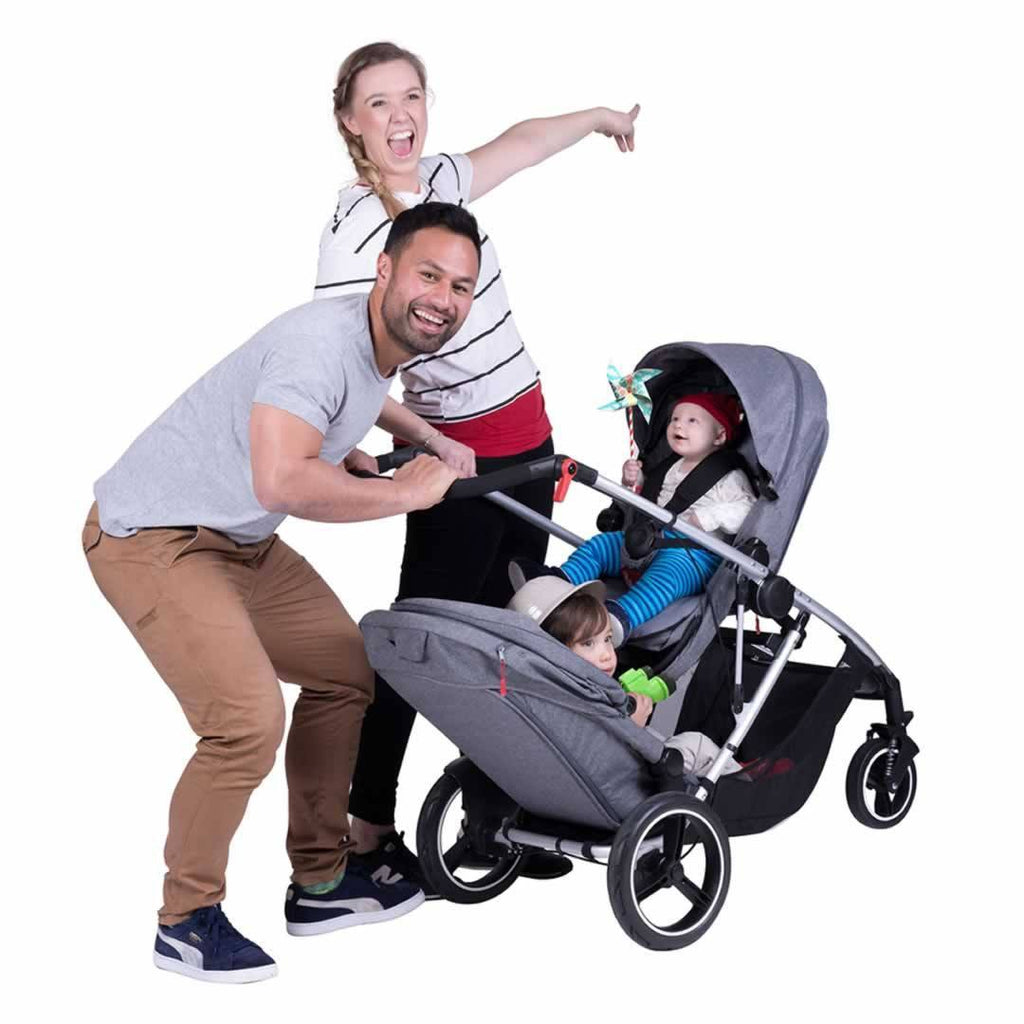 Phil & Teds Voyager Pushchair + Double Kit - Blue Marl Lifestyle