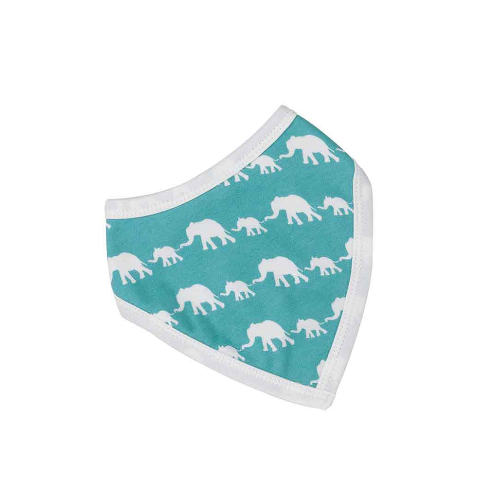 Pigeon Organics Bandana Bib - Silhouette Prints - Blue Elephants-Bibs-Default- Natural Baby Shower