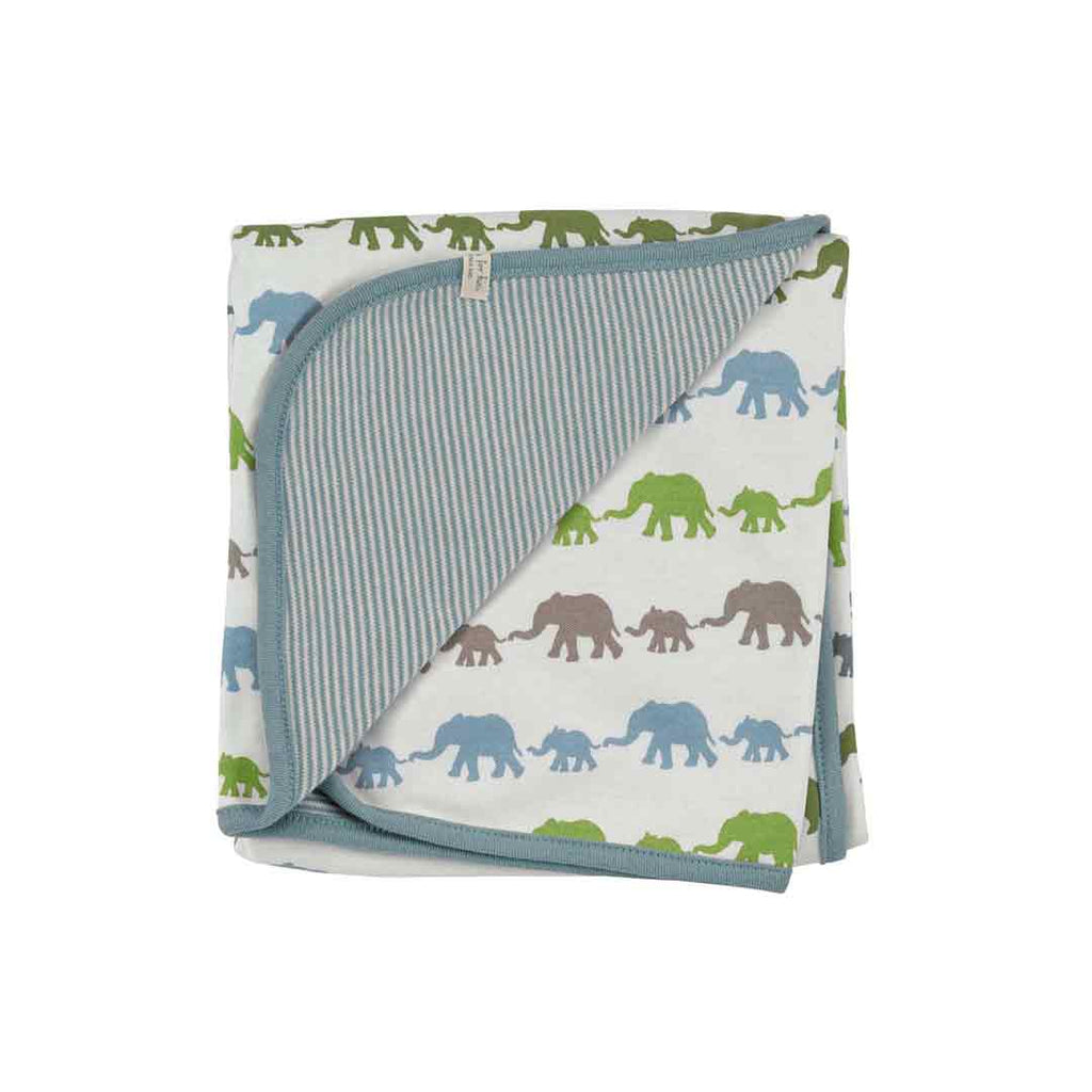 Pigeon Organics Blanket - Silhouette Prints - Blue Elephant Mix-Blankets-Default- Natural Baby Shower