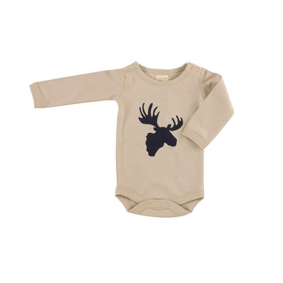 Pigeon Organics Bodysuit - Moose Head - Ink Blue/Pumice-Bodysuits- Natural Baby Shower