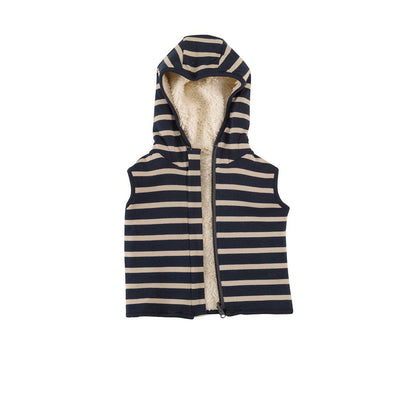 Pigeon Organics Fleecey Gilet - Ink Blue/Pumice-Coats & Snowsuits- Natural Baby Shower