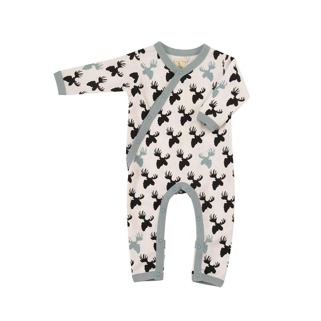 Pigeon Organics Kimono Romper - Moose Head - Black/White-Rompers- Natural Baby Shower