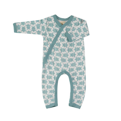 Pigeon Organics Kimono Romper - Turtle Turquoise-Rompers- Natural Baby Shower