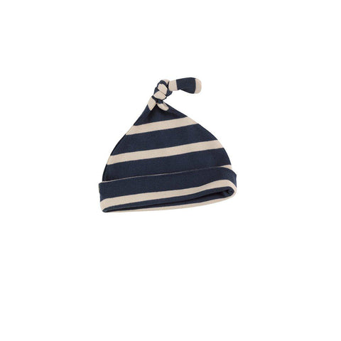 Pigeon Organics Knotted Hat - Breton Stripe - Ink Blue/Pumice-Hats- Natural Baby Shower