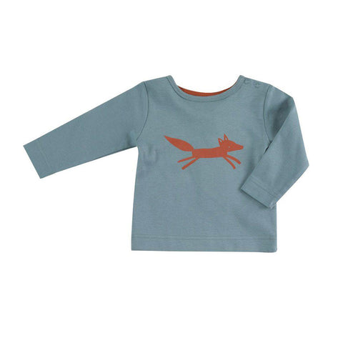 Pigeon Organics Long Sleeve T-Shirt - Fox on Blue-Long Sleeves- Natural Baby Shower