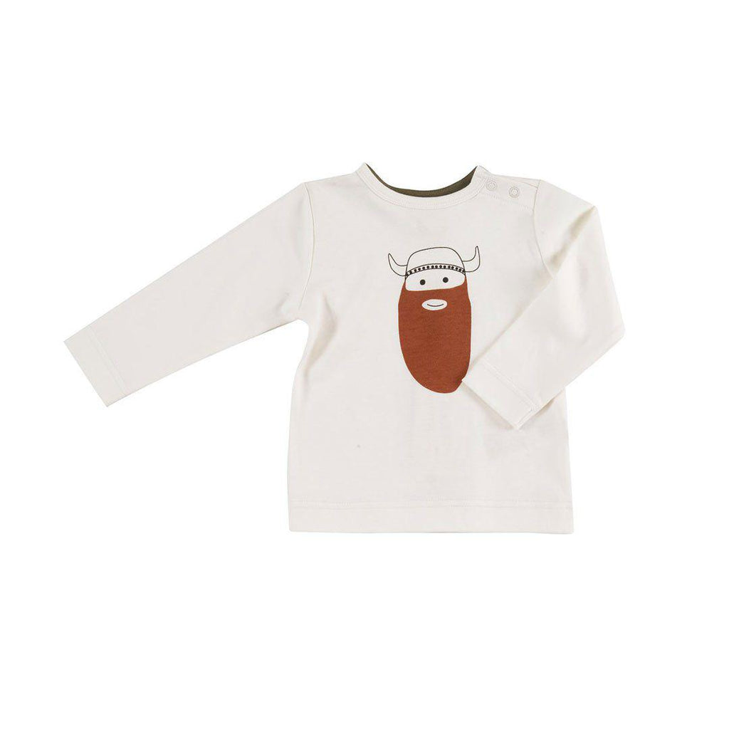 Pigeon Organics Long Sleeve T-Shirt - Viking on White-Long Sleeves- Natural Baby Shower