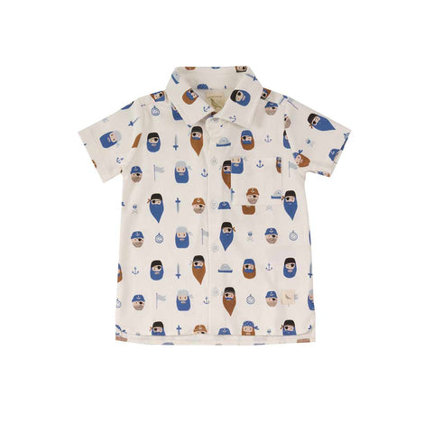 Pigeon Organics Printed Jersey Shirt - Pirates on White-Short Sleeves- Natural Baby Shower