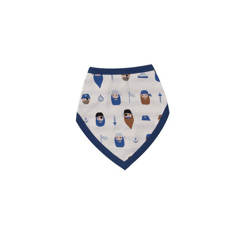 Pigeon Organics Reversible Bib - Pirates on White-Bibs-Pirates on White- Natural Baby Shower
