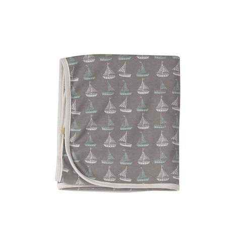 Pigeon Organics Reversible Seaside Blanket - Boat Grey