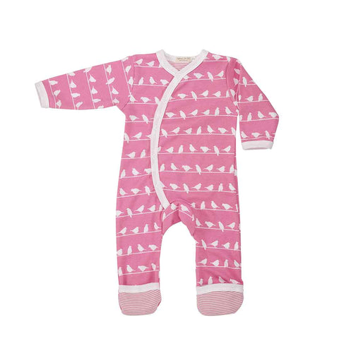 Pigeon Organics Romper - Silhouette Prints - Pink Birds-Rompers- Natural Baby Shower