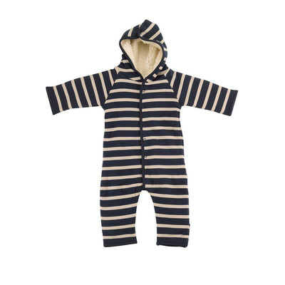 Pigeon Organics Snugglesuit - Breton Stripe - Ink Blue/Pumice-Rompers- Natural Baby Shower