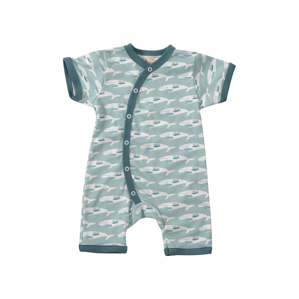 2eba46232 Pigeon Organics Whale Romper - Turquoise-Rompers- Natural Baby Shower