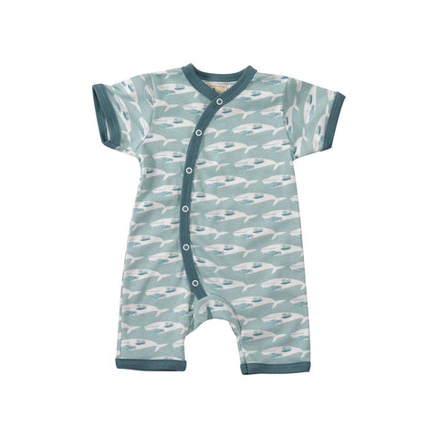 Pigeon Organics Whale Romper - Turquoise-Rompers- Natural Baby Shower