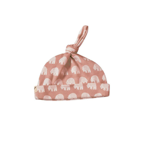 Pigeon Organics Woodland Knotted Hat - Pink Bear-Hats-0-5m-Pink Bear- Natural Baby Shower
