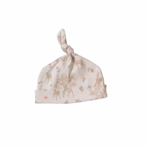 Pigeon Organics Woodland Knotted Hat - Taupe Deer-Hats-0-5m-Taupe- Natural Baby Shower