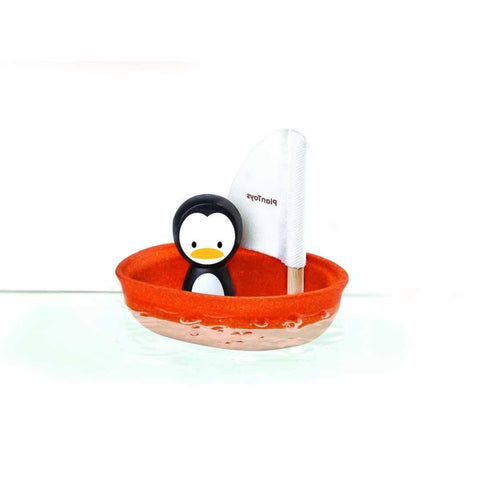 Plan Toys Sailing Boat Penguin-Bath Toys- Natural Baby Shower