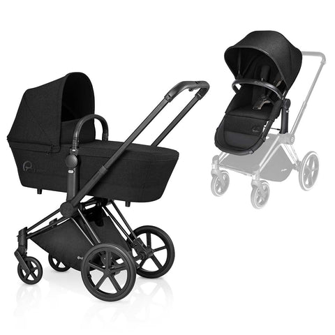 Cybex Priam Pushchair with 2in1 Seat - Black Chassis + Happy Black