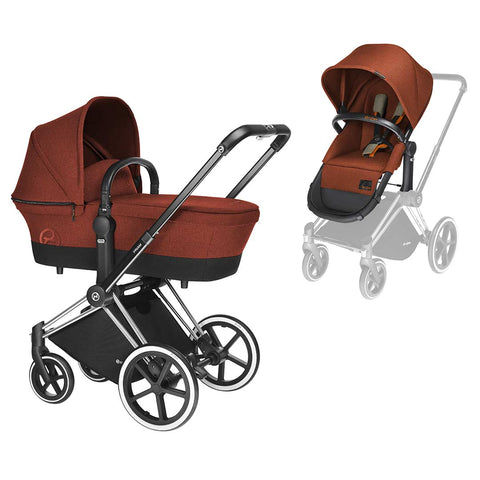 Cybex Priam Pushchair with 2in1 Seat - Chrome Chassis + Autumn Gold