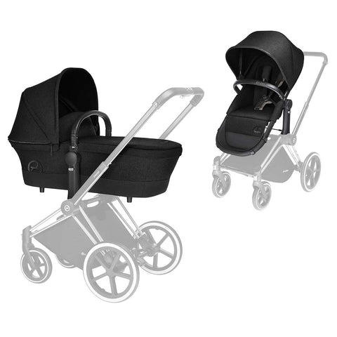 Cybex Priam Pushchair with 2in1 Seat - Chrome Chassis + Happy Black