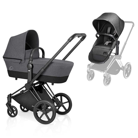 Cybex Priam Pushchair with 2in1 Seat - Black Chassis + Manhattan Grey