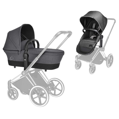 Cybex Priam Pushchair with 2in1 Seat - Chrome Chassis + Manhattan Grey