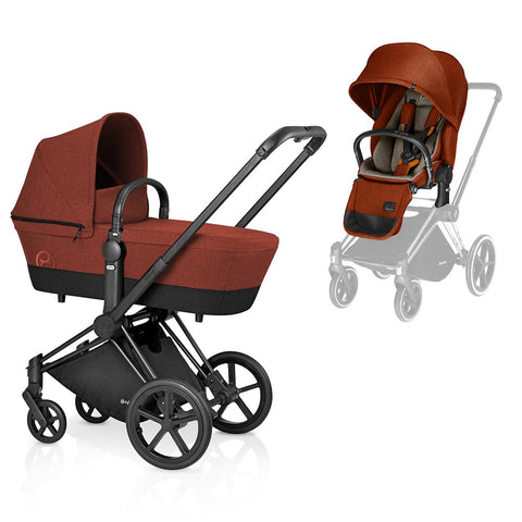 Cybex Priam Pushchair with 2in1 Seat - Black Chassis + Autumn Gold