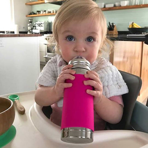 Pura Insulated Infant Bottle 250ml/9oz - Pink Sleeve-Bottles- Natural Baby Shower