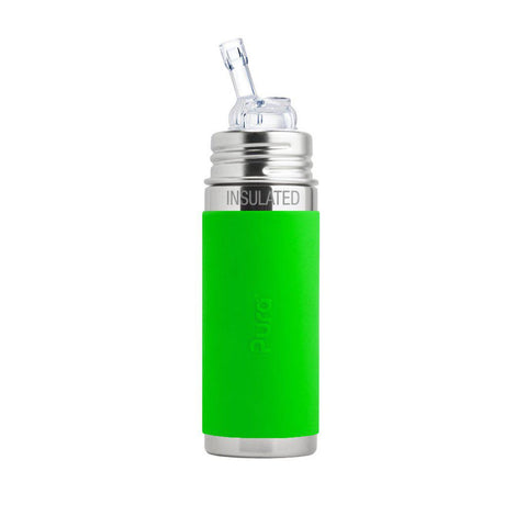 Pura Insulated Straw Bottle 250ml/9oz - Green Sleeve-Bottles- Natural Baby Shower