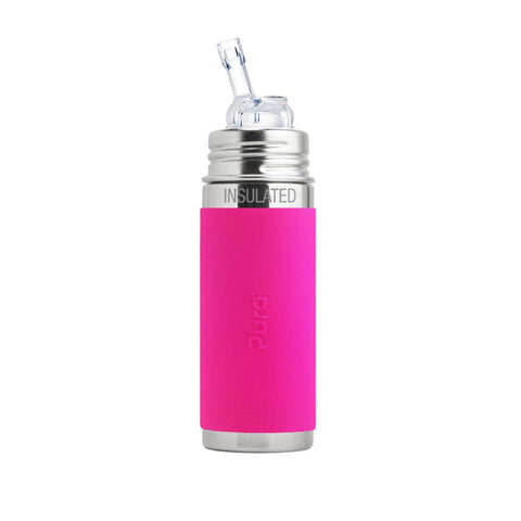 Pura Insulated Straw Bottle 250ml/9oz - Pink Sleeve-Bottles- Natural Baby Shower