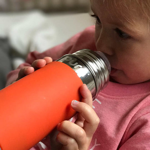 Pura Toddler Bottle with XL Sipper Spout 325ml/11oz - Orange Sleeve-Bottles- Natural Baby Shower