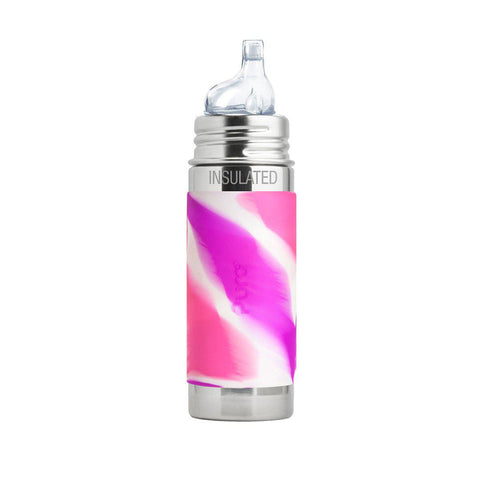 Pura Toddler Insulated Bottle with XL Sipper Spout 250ml/9oz - Pink Swirl-Bottles- Natural Baby Shower