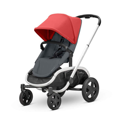 Quinny Hubb Pushchair - Silver & Red on Graphite-Strollers- Natural Baby Shower