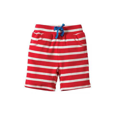 Frugi Little Stripy Shorts - Tomato Breton/Hippo